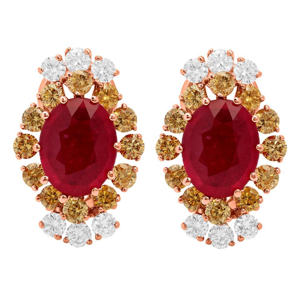14k Rose Gold 5.52ct Ruby 0.75ct & 1.55ct Diamond Earrings