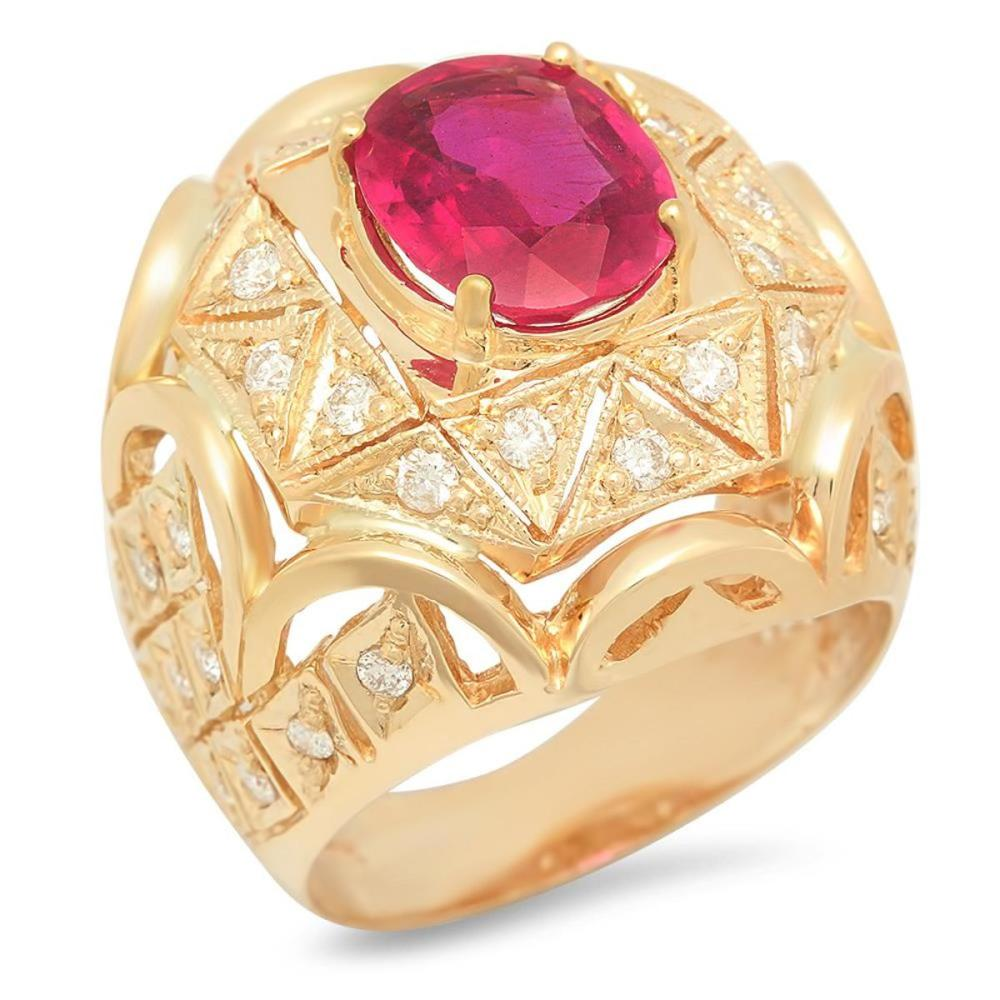 14K Yellow Gold 3.93ct Ruby and 1.07ct Diamond Ring