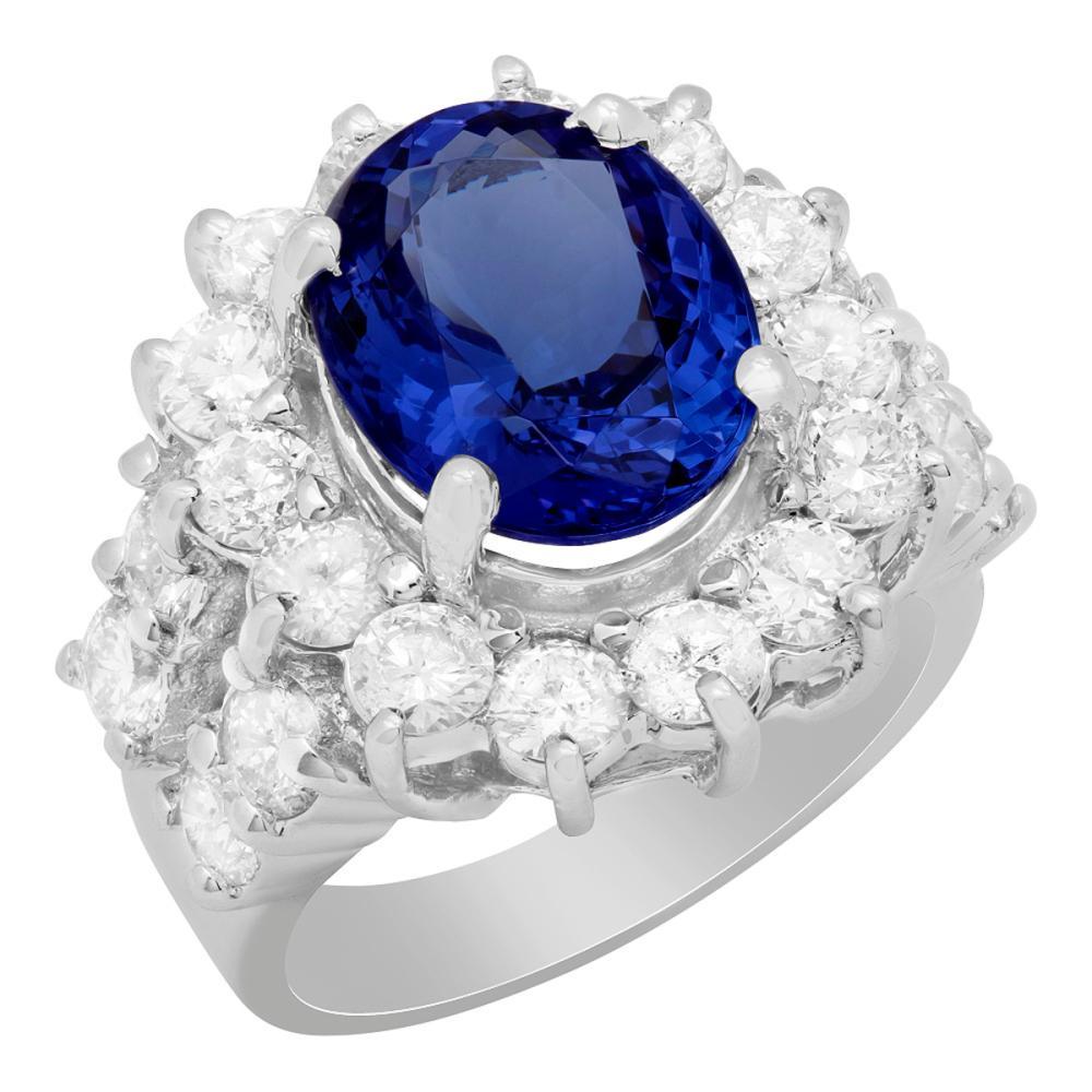 14k White Gold 5.49ct Tanzanite 3.12ct Diamond Ring