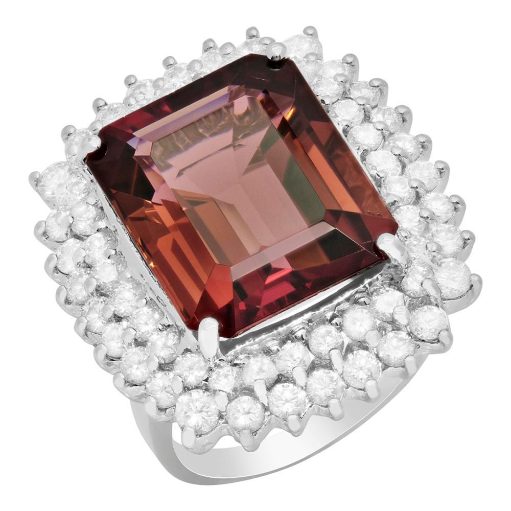 14k White Gold 14.71ct Purple Tourmaline 2.30ct Diamond Ring