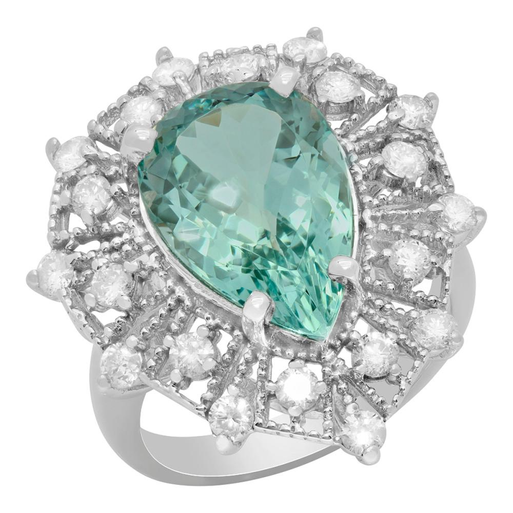 14k White Gold 5.57ct Aquamarine 0.97ct Diamond Ring