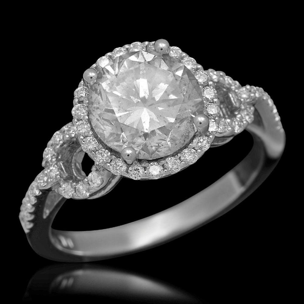 14K White Gold 2.39ct Center Diamond and 0.43ct Diamond Ring