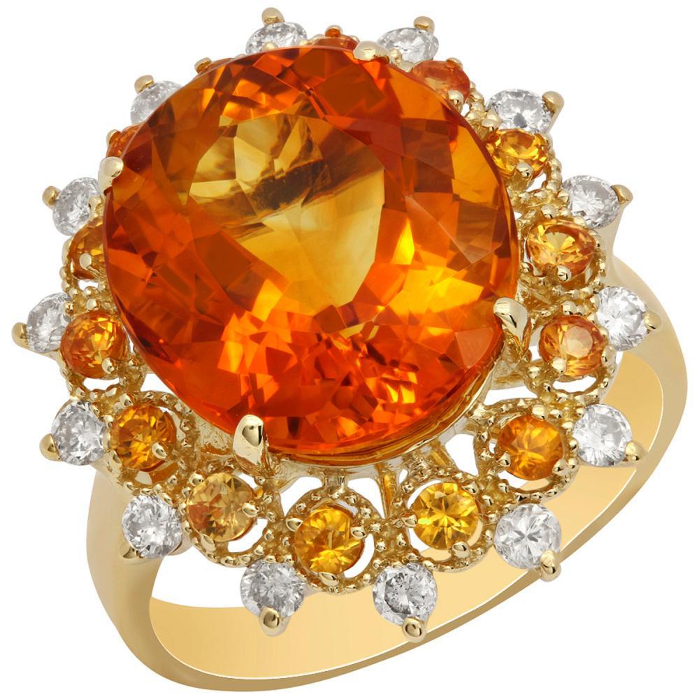 14k Yellow Gold 7.11ct Citrine 0.58ct Orange Sapphire 0.47ct Diamond Ring