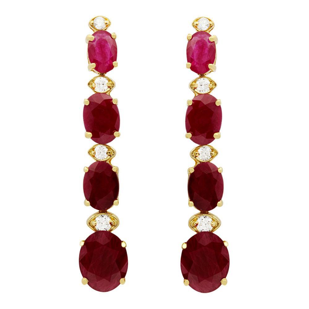 14k Yellow Gold 8.78ct Ruby 0.32ct Diamond Earrings
