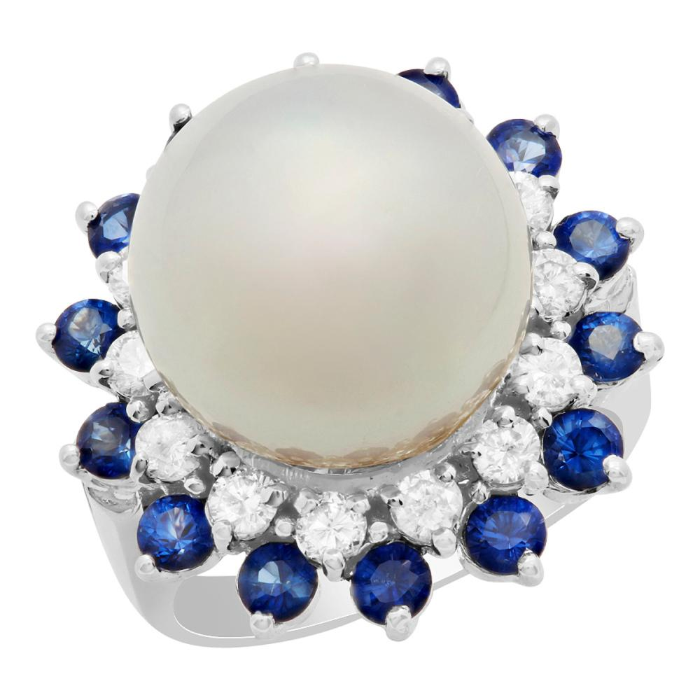 14k White Gold 13.5mm Pearl 1.37ct Sapphire 0.74ct Diamond Ring