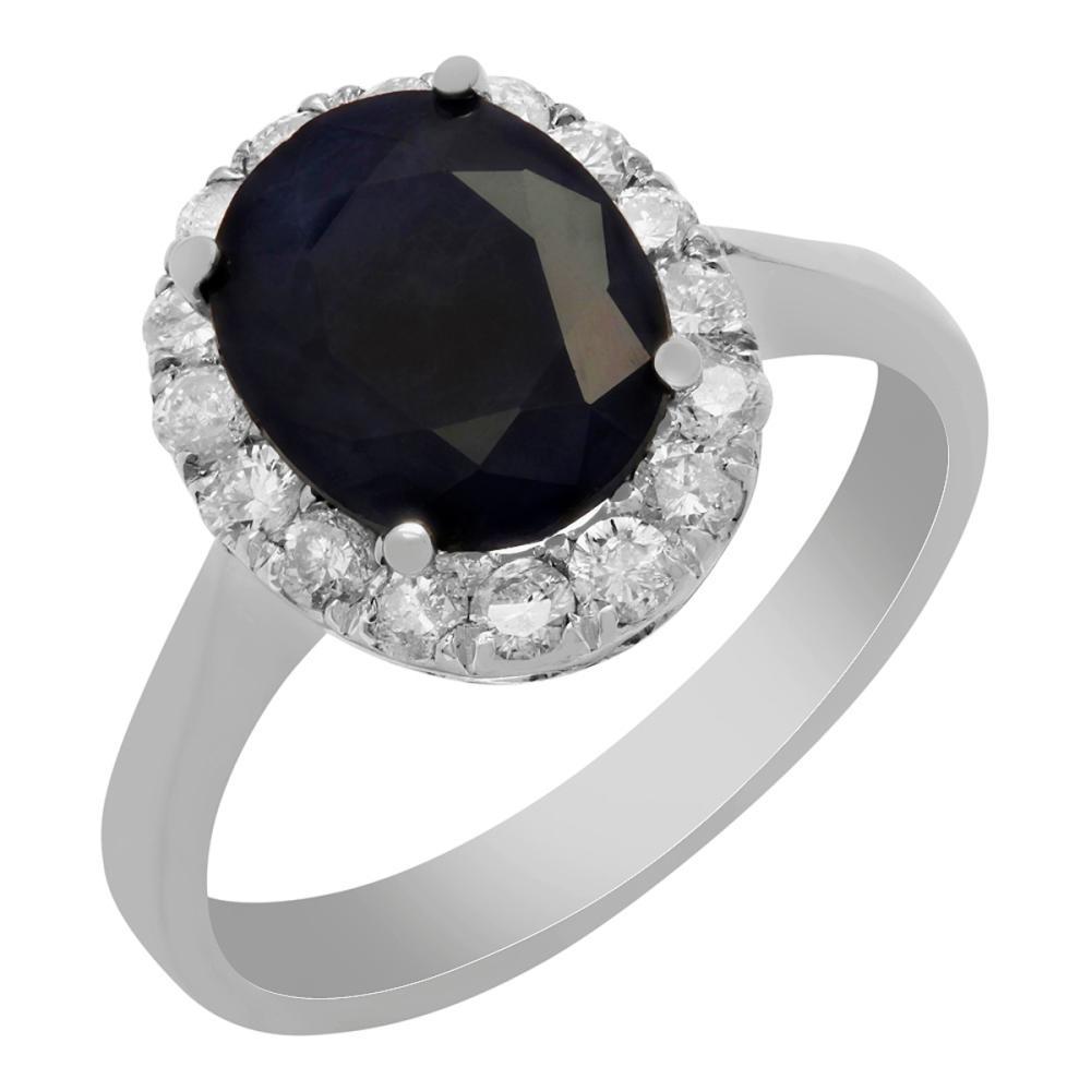 14k White Gold 3.55ct Sapphire 0.62ct Diamond Ring