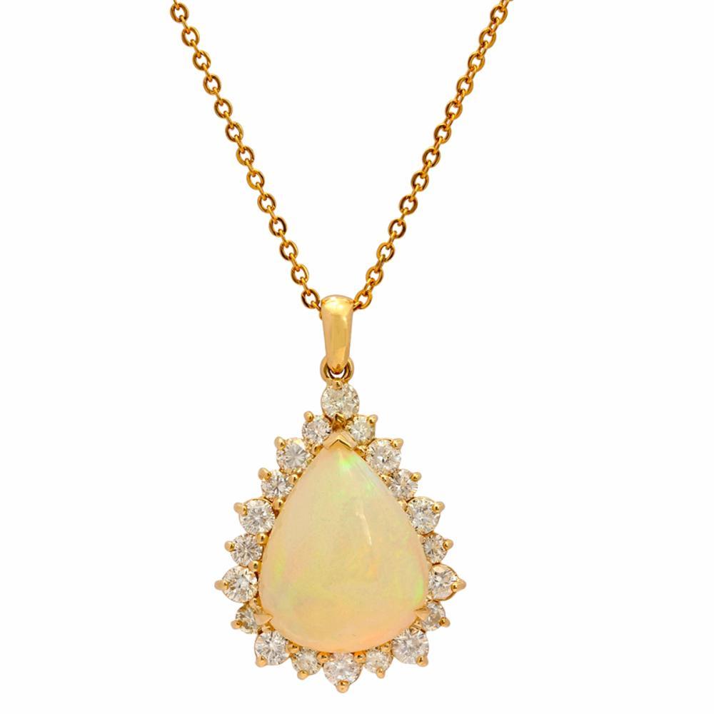 14k Yellow Gold 10.88ct Opal 1.09ct Diamond Pendant