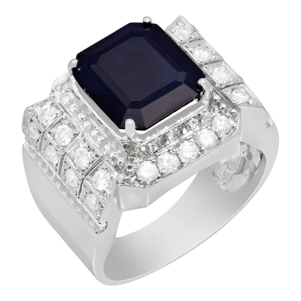 14k White Gold 5.39ct Sapphire 1.04ct Diamond Ring
