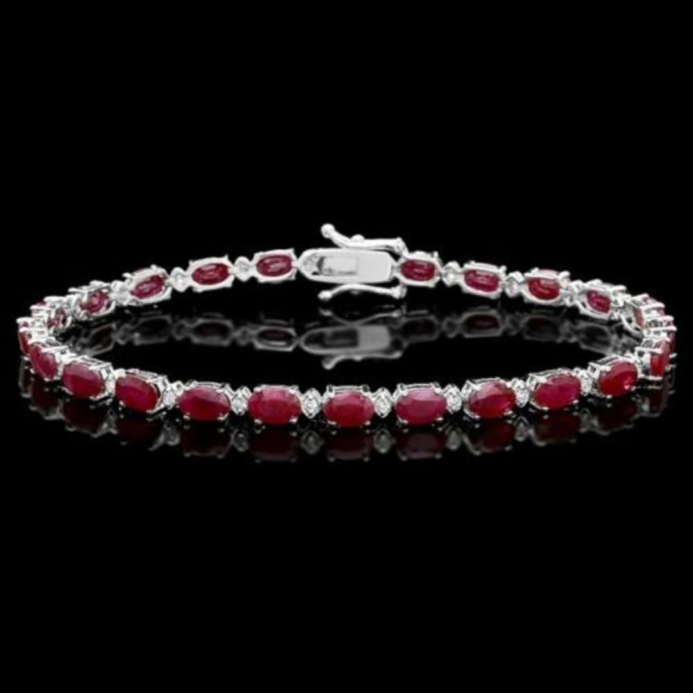 14K Gold 14.80ct Ruby 0.52ct Diamond Bracelet