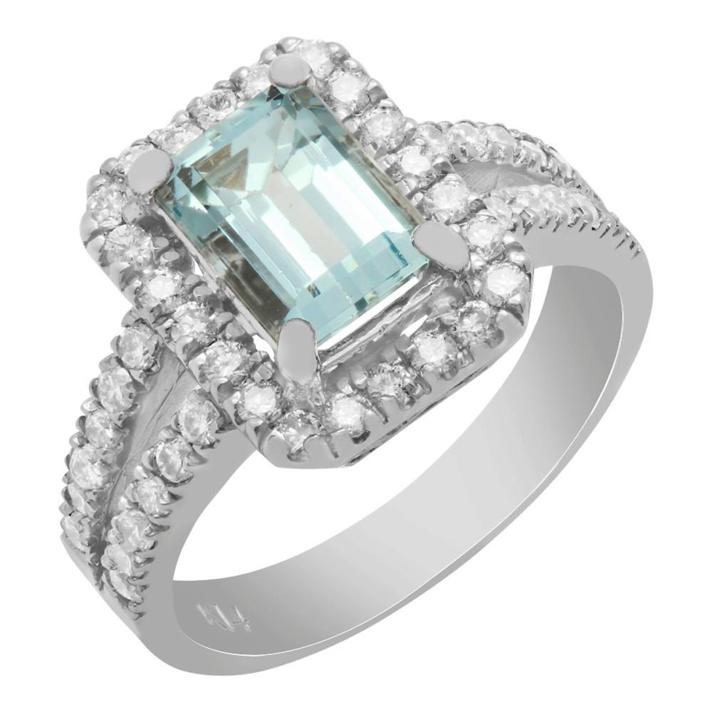 14k White Gold 1.62ct Aquamarine 0.78ct Diamond Ring