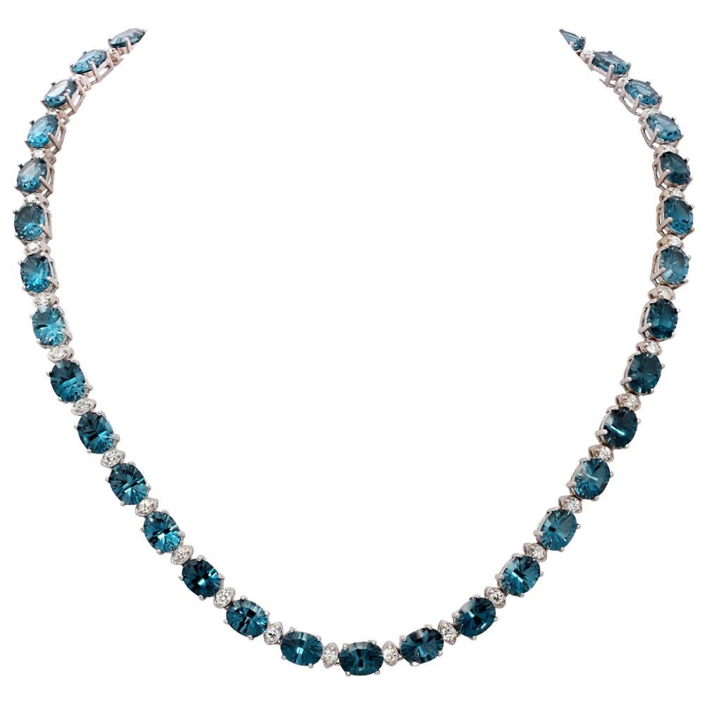 14k White Gold 51.16ct Blue Topaz 2.46ct Diamond Necklace