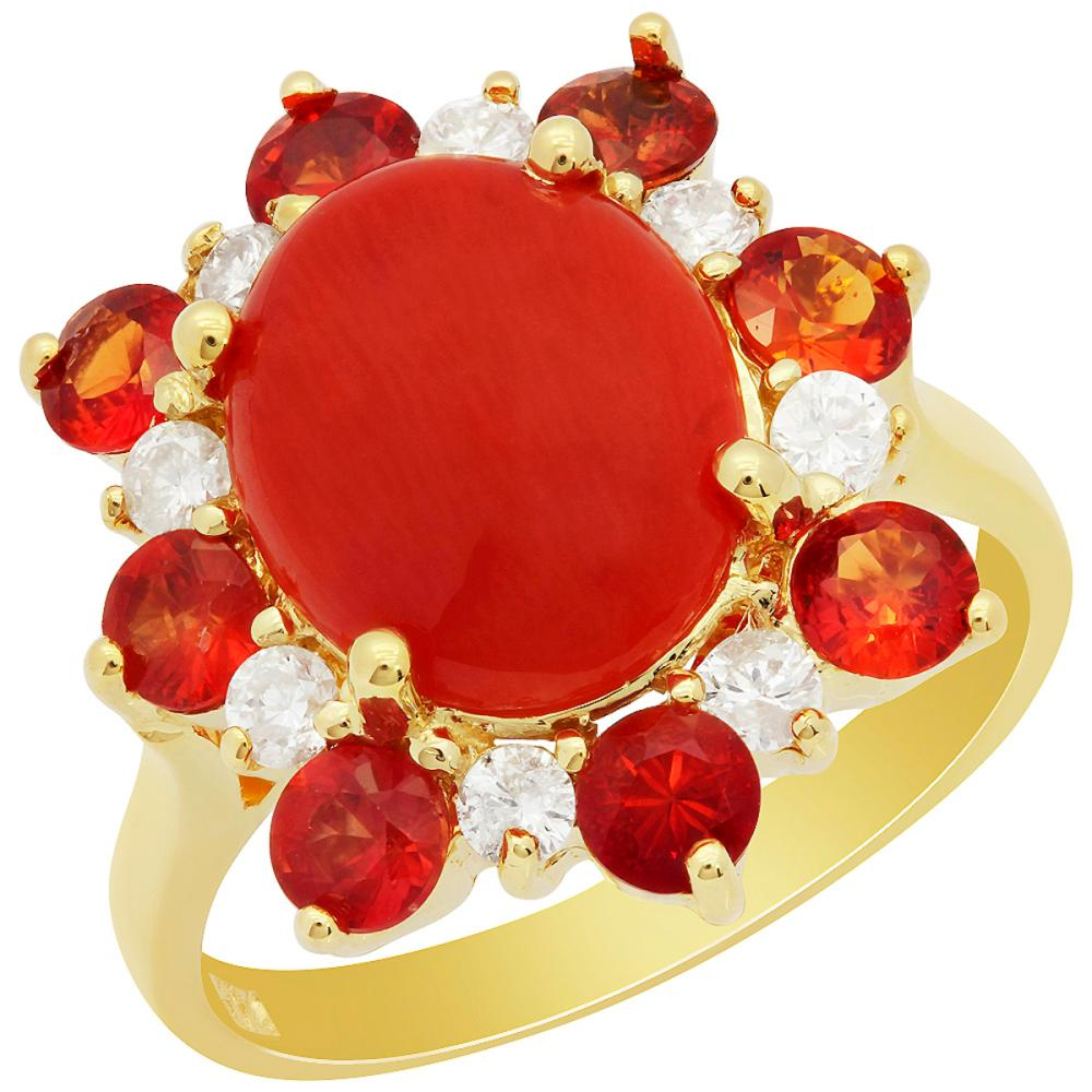 14k Yellow Gold 2.15ct Coral 1.42ct Orange Sapphire 0.35ct Diamond Ring