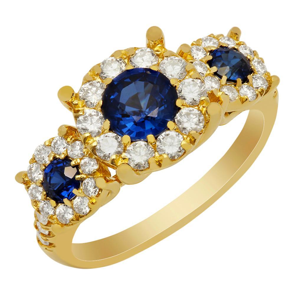 14k Yellow Gold 0.78ct Lab Created Sapphire 0.84ct Diamond Ring