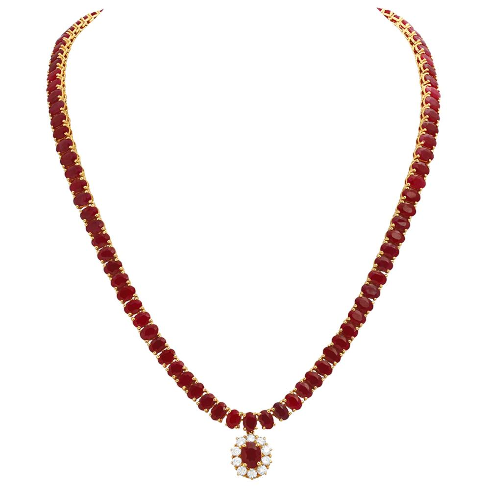 14k Yellow Gold 57.14ct Ruby 1.08ct Diamond Necklace