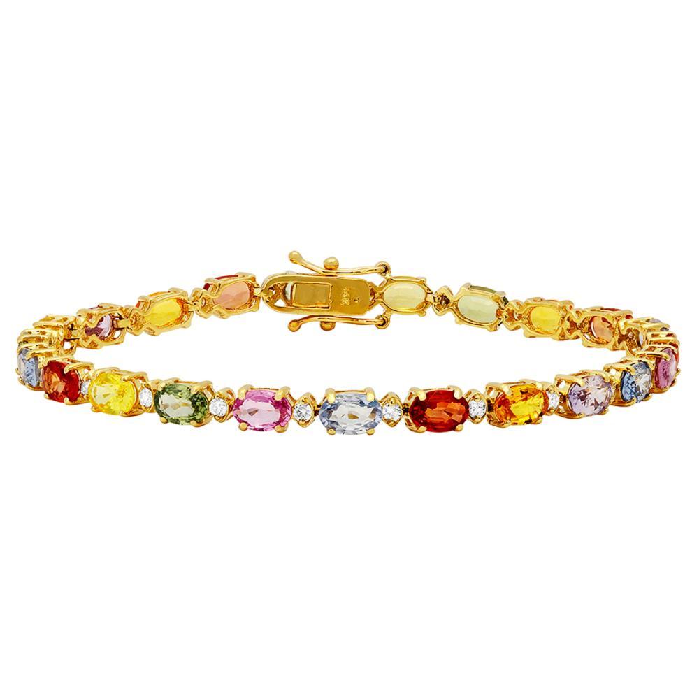 14k Yellow Gold 12.66ct Sapphire 0.64ct Diamond Bracelet