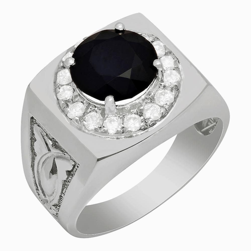 14k White Gold 4.51ct Sapphire 0.62ct Diamond Ring