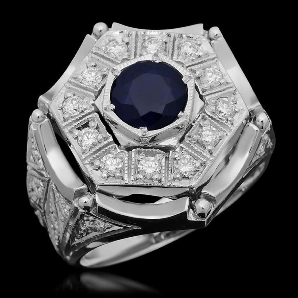 14K Whire Gold 1.91ct Sapphire and 1.27ct Diamond Ring