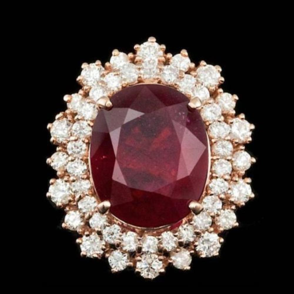 14K Rose Gold 8.70ct Ruby and 1.53ct Diamond Ring