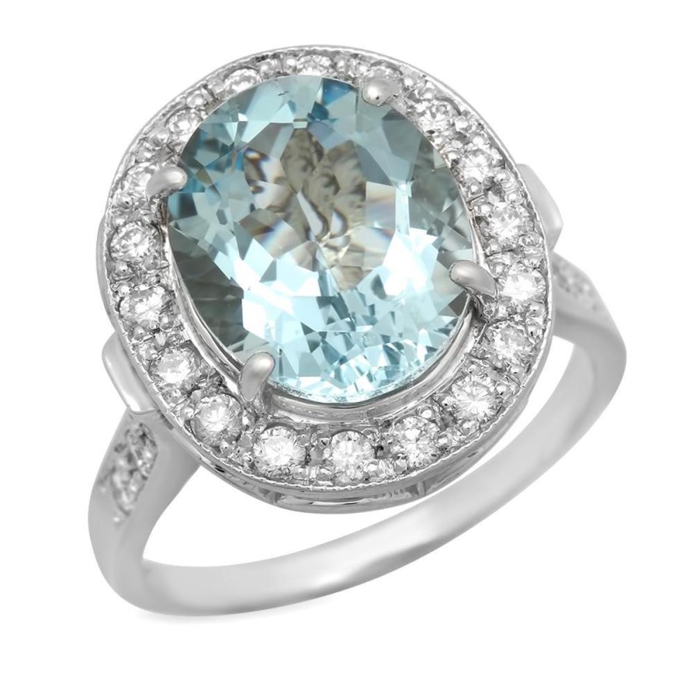 14K White Gold 4.20ct Aquamarine and 0.58ct Diamond Ring