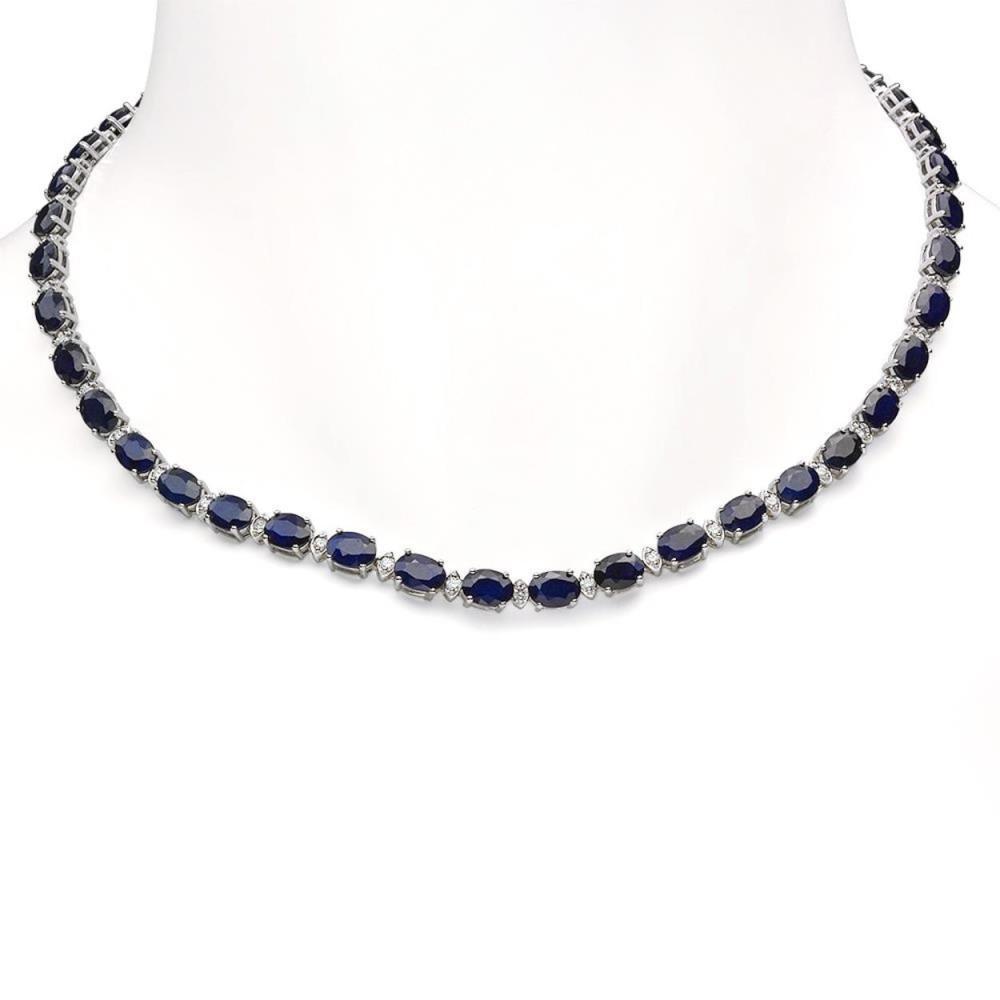 14K Gold 42.93ct Sapphire 1.72ct Diamond Necklace