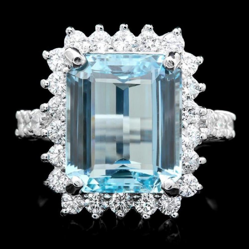 14K White Gold 5.88ct Aquamarine and 0.89ct Diamond Ring