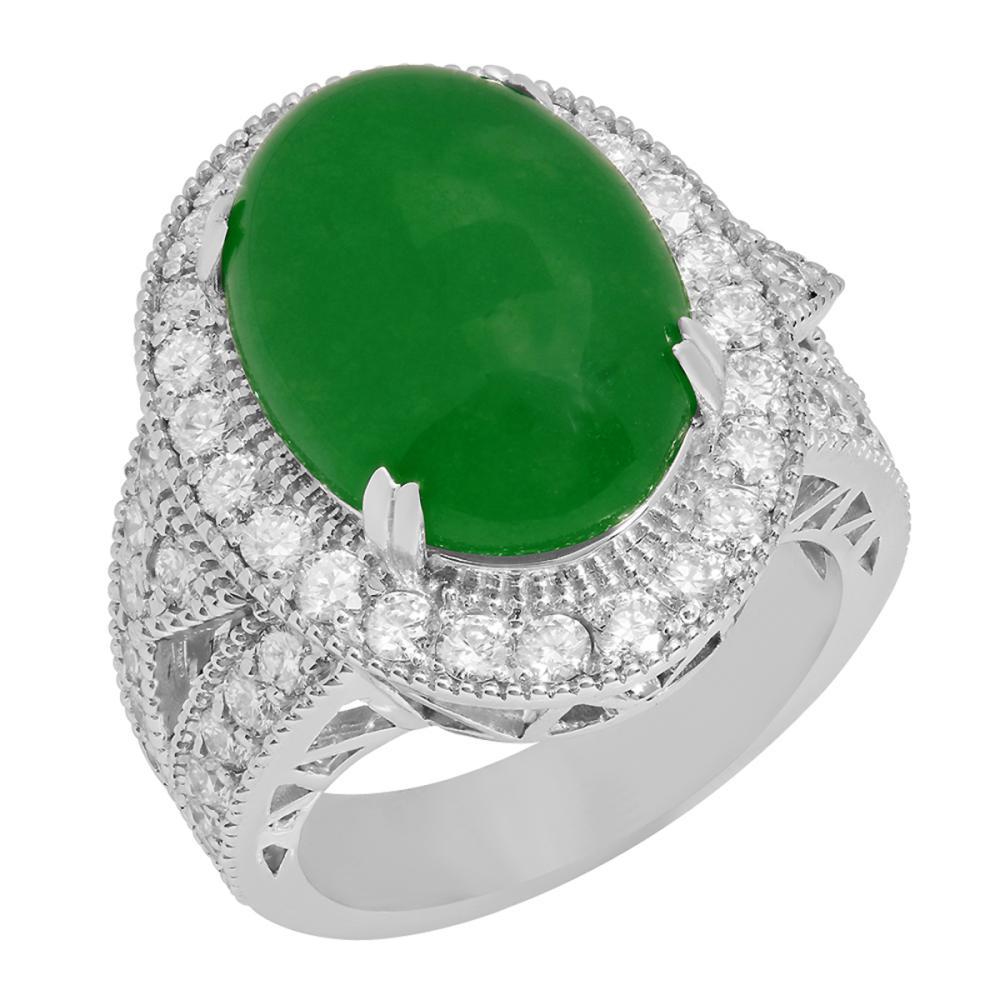 14k White Gold 8.68ct Jade 1.96ct Diamond Ring