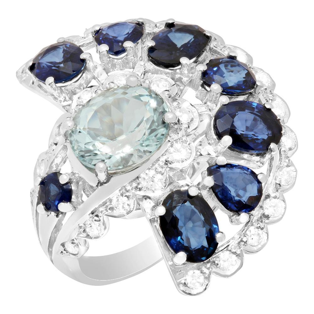 14k White Gold 2.45ct Aquamarine 5.69ct Sapphire 0.82ct Diamond Ring