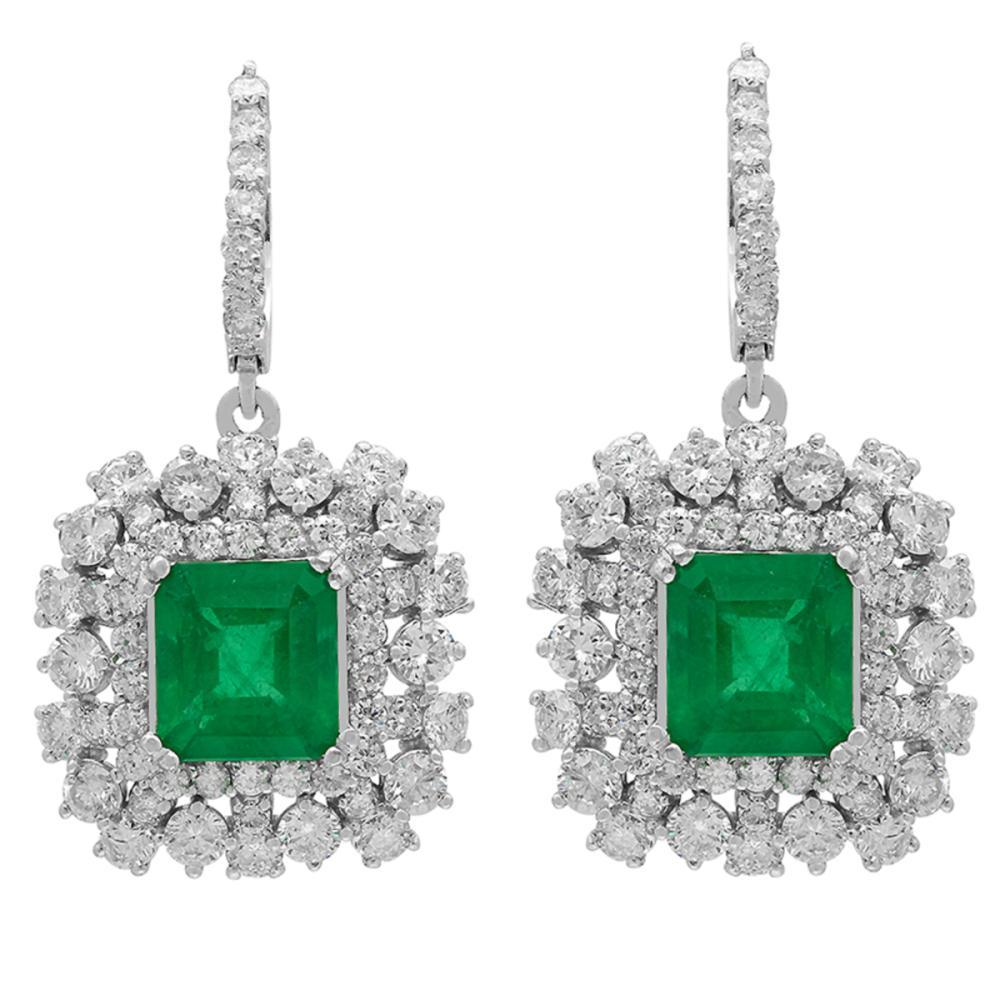 14k White Gold 5.72ct Emerald 5.69ct Diamond Earrings