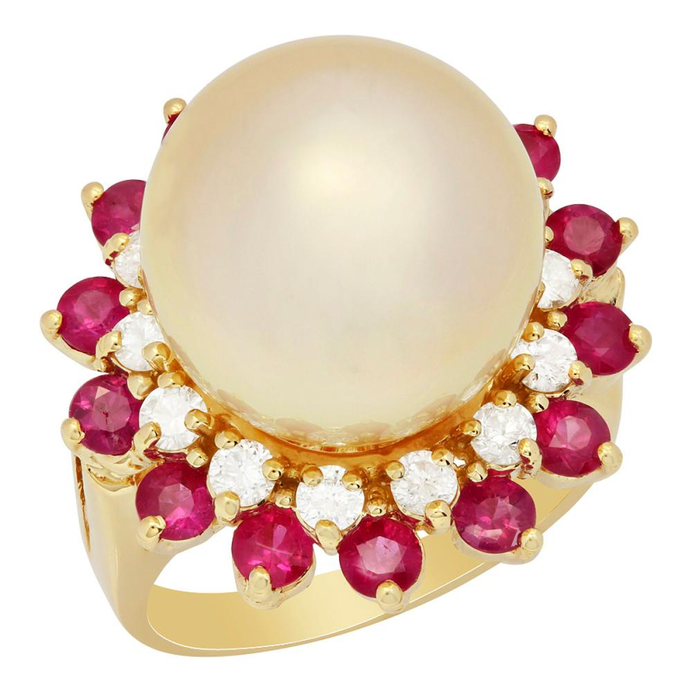 14k Yellow Gold 14mm Pearl 1.42ct Ruby 0.68ct Diamond Ring