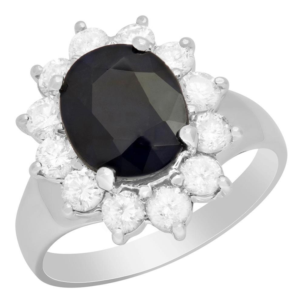 14k White Gold 3.16ct Sapphire 1.16ct Diamond Ring