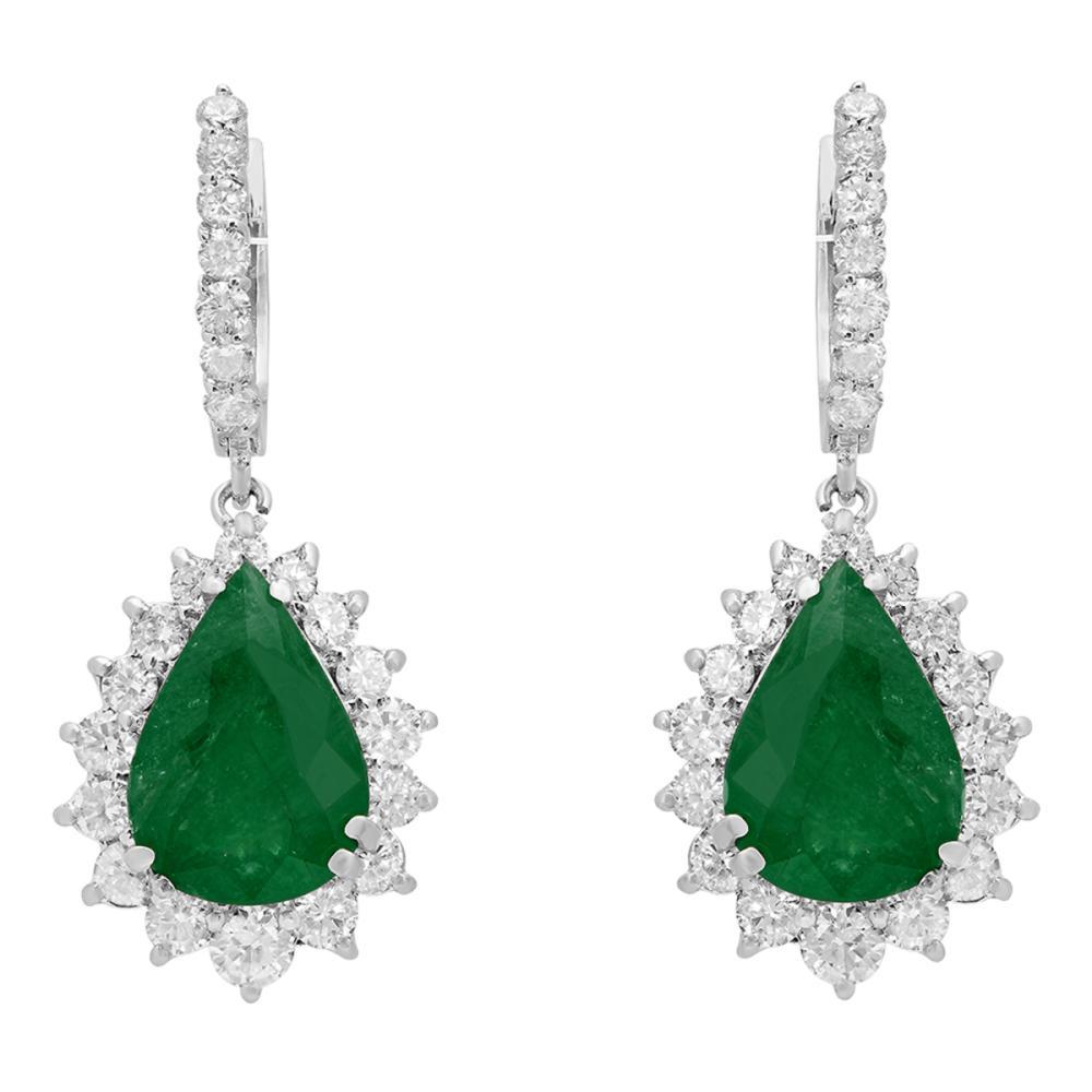 14k White Gold 7.14ct Emerald 2.45ct Diamond Earrings
