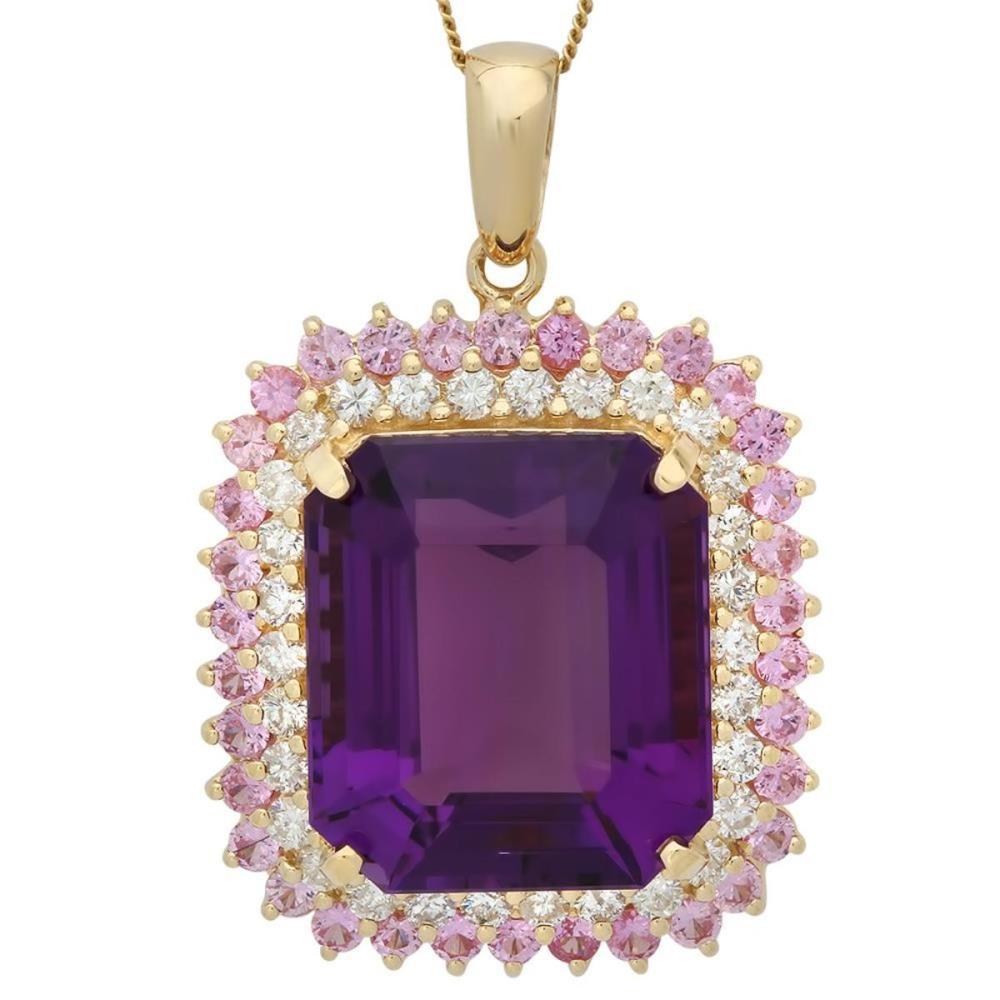 14K Gold 25.29ct Amethyst 2.0ct Pink Sapphire 1.56ct Diamond Pendant