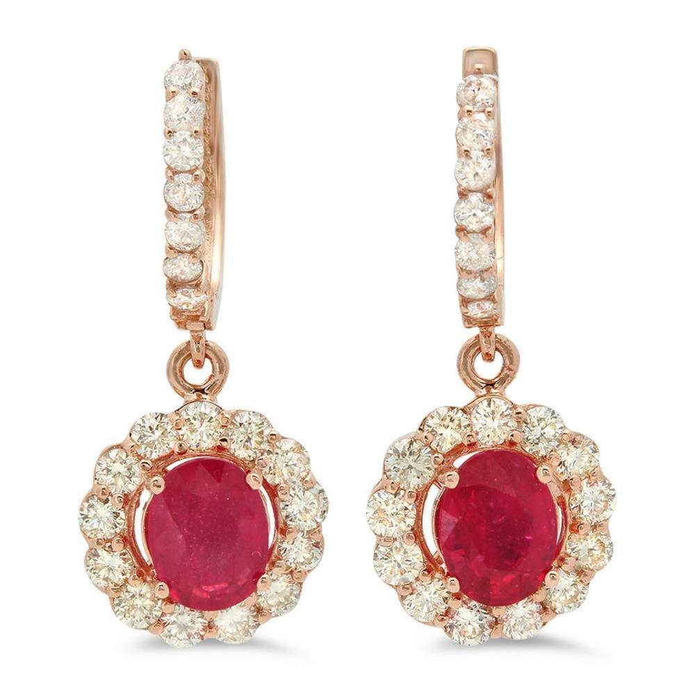 14K Gold 3.13ct Ruby 2.19cts Diamond Earrings