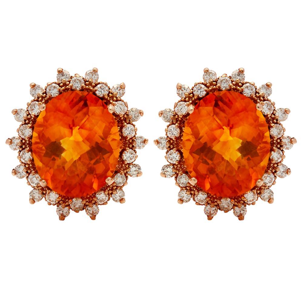 14k Rose Gold 10.96ct Citrine 1.42ct Diamond Earrings