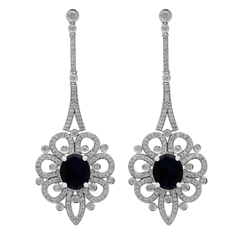 14k White Gold 13.41ct Sapphire 4.10ct Diamond Earrings