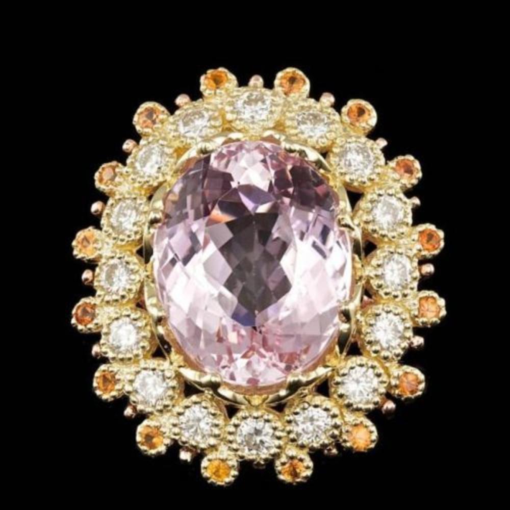 14K Yellow Gold 16.64ct Kunzite 0.72ct Sapphire and 1.78ct Diamond Ring