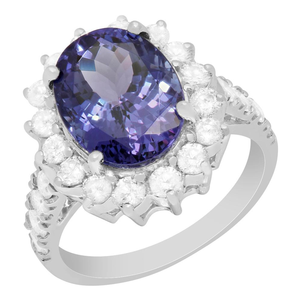 14k White Gold 5.31ct Tanzanite 1.36ct Diamond Ring