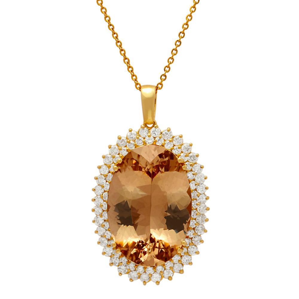 14k Yellow Gold 39.88ct Morganite 4.21ct Diamond Pendant