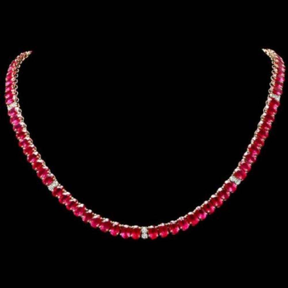 14K Yellow Gold 53.35ct Ruby and 1.27ct Diamond Necklace