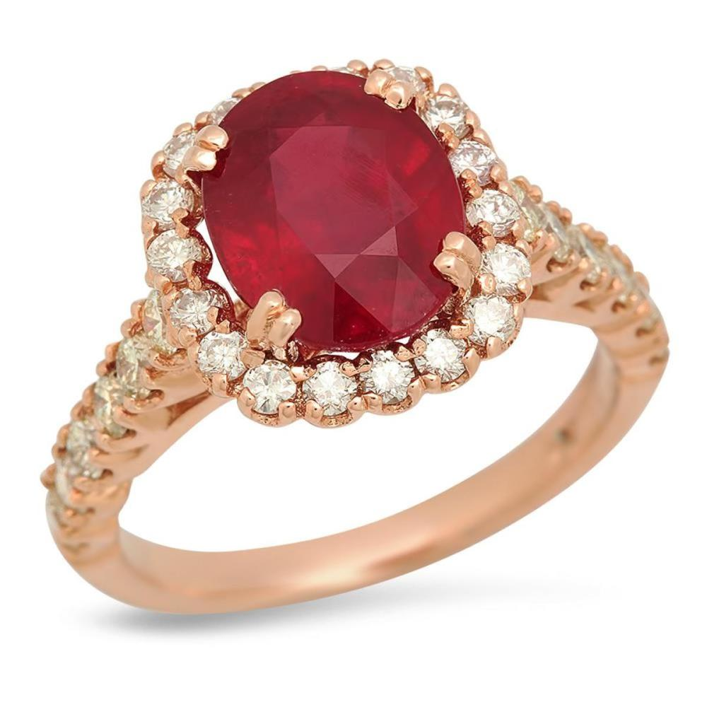14K Rose Gold 4.59ct Ruby and 1.00ct Diamond Ring
