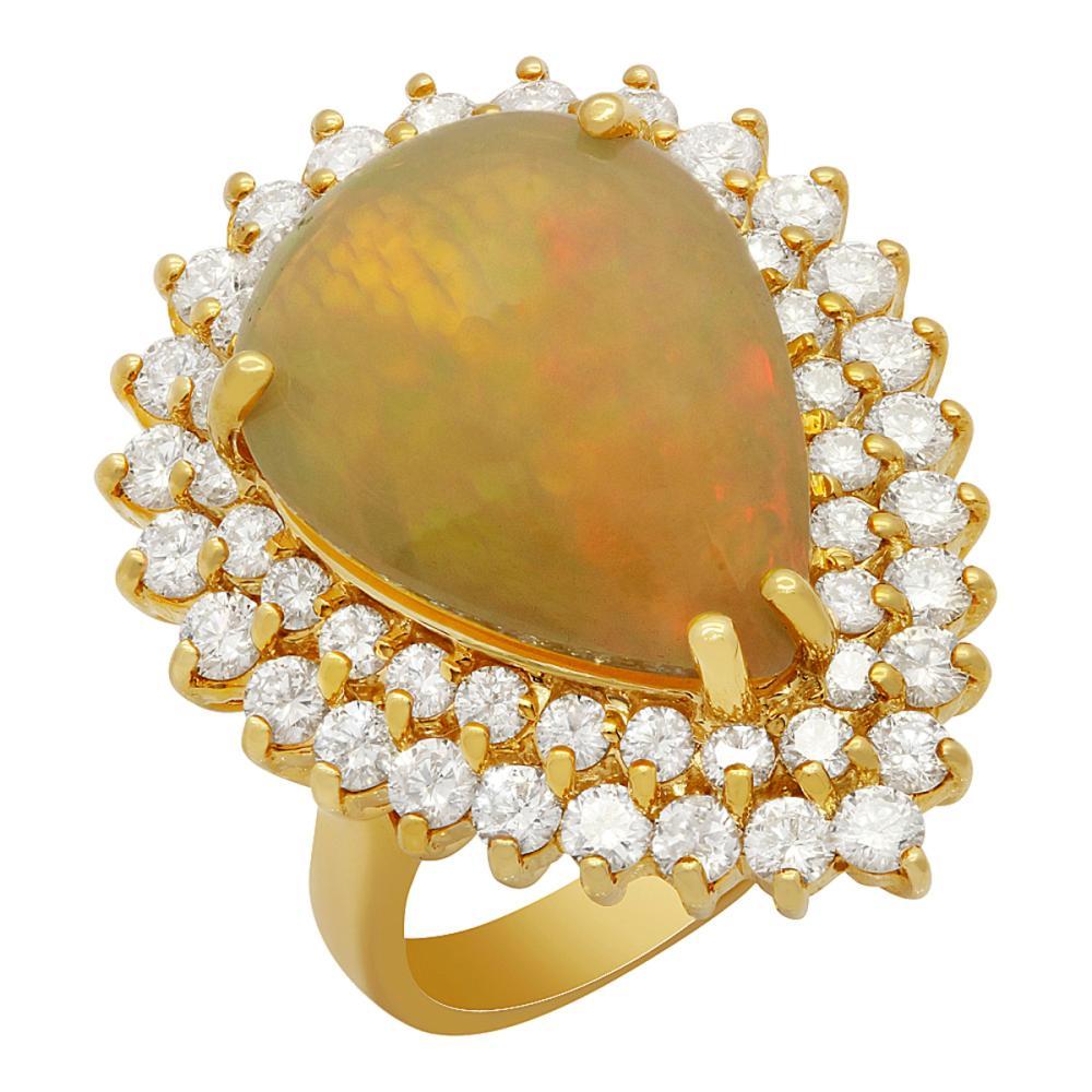 14k Yellow Gold 9.58ct Opal 3.48ct Diamond Ring