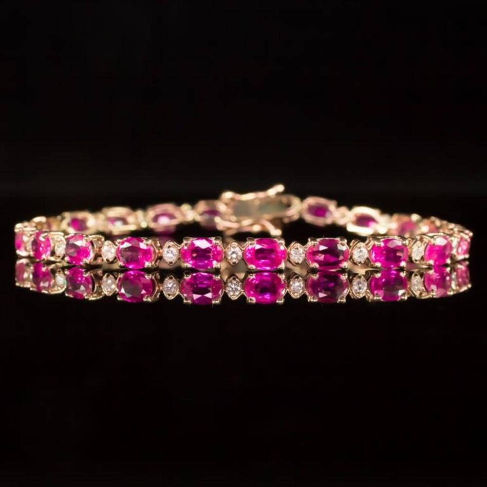 14K Rose Gold 9.88ct Pink Sapphire 0.76ct Diamond Bracelet