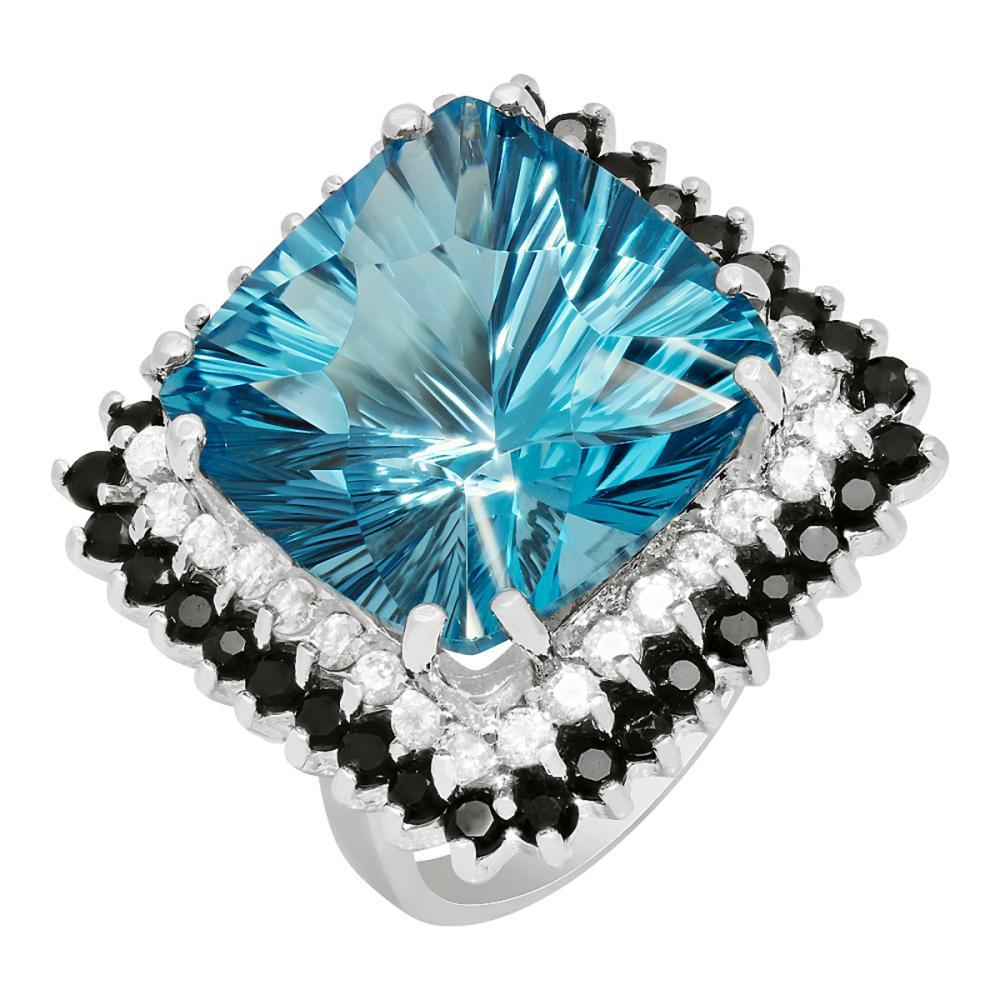 14k White Gold 21.01ct Blue Topaz 1.56ct Blue Sapphire 0.79ct Diamond Ring