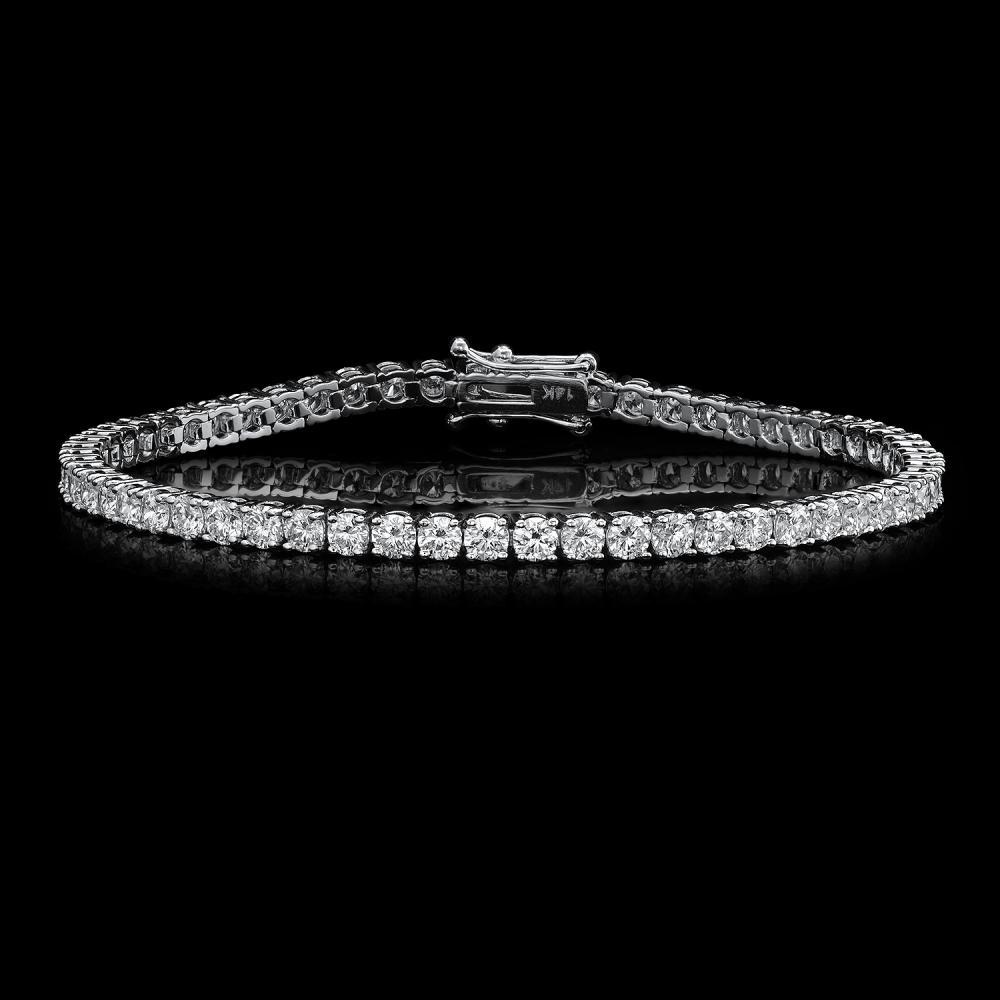 14K White Gold and 5.92ct Diamond Bracelet