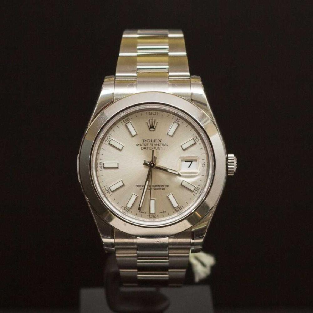 Rolex Stainless Steel Datejust 41mm Silver Dial Men's Wristwatch
