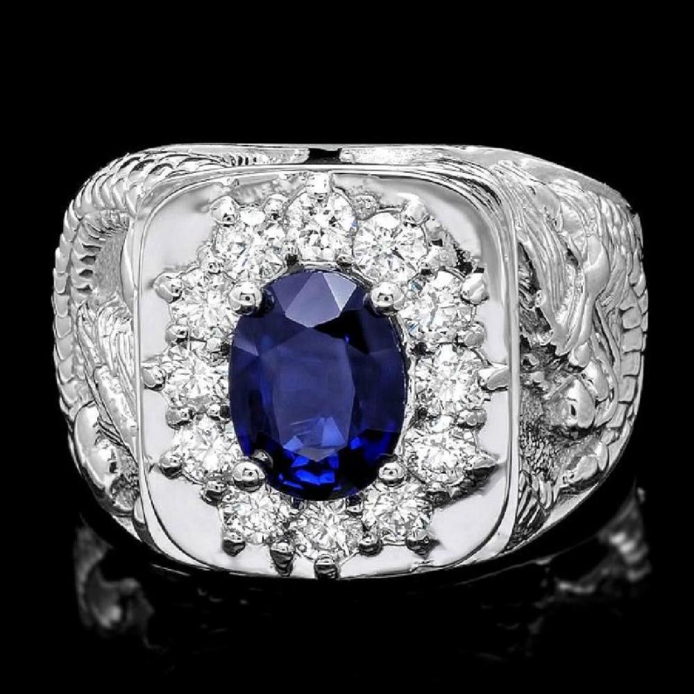 14k White Gold 1.97ct Sapphire and 0.60ct Diamond Mens Ring
