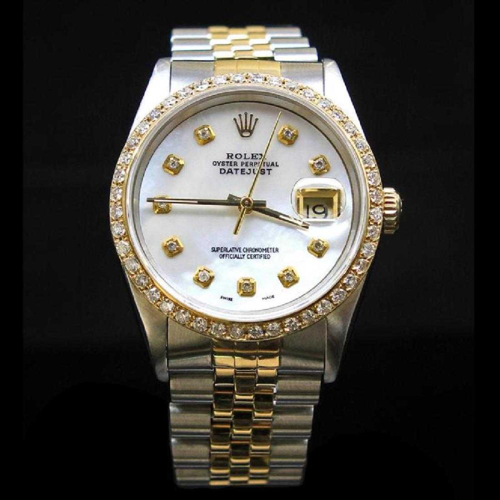 Rolex Two-Tone DateJust 36mm Custom White MOP Dial Diamond Bezel Approx. 1.65 cts. Diamond Dial Men's Wristwatch