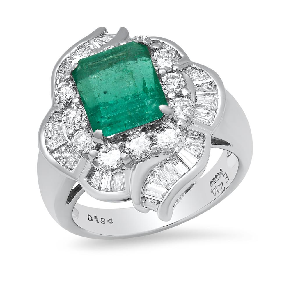 Platinum Setting with 2.44ct Emerald and 1.94ct Diamond Ladies Ring