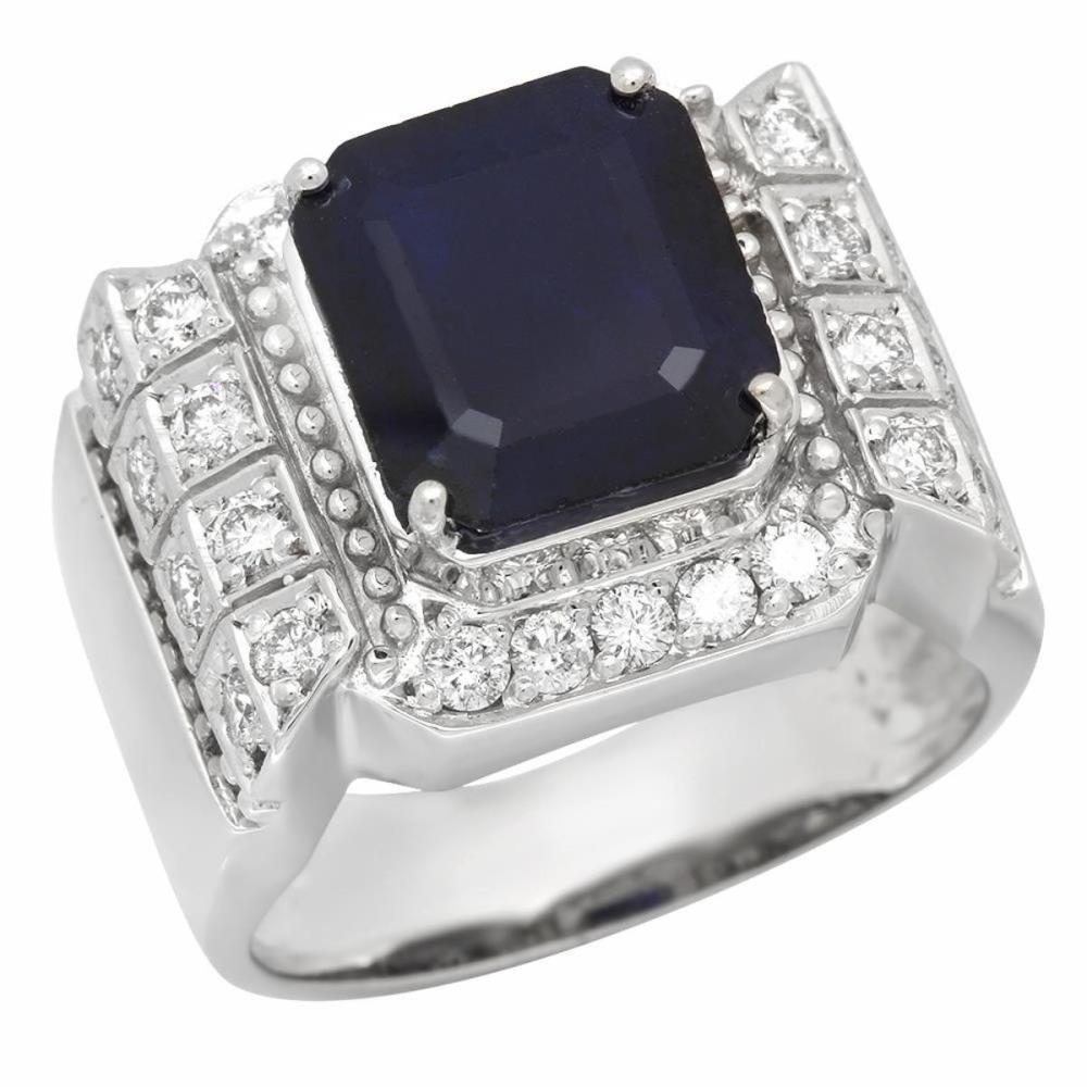 14K White Gold 5.75ct Sapphire and 1.01ct Diamond Mens Ring