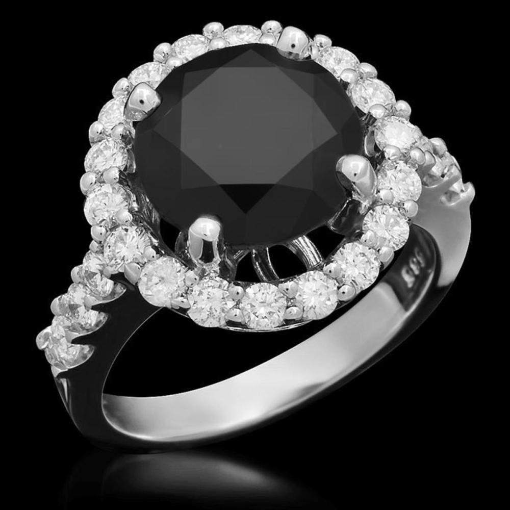 14K White Gold 4.50ct Fancy Color Diamond and 1.03ct Diamond Ring